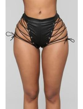 Crazy Lover Lace Up Shorts   Black by Fashion Nova