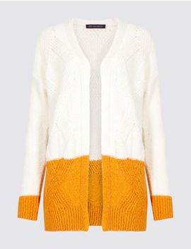 Cotton Rich Colour Block Longline Cardigan by Marks & Spencer