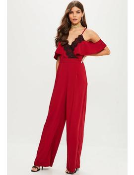 Burgundy Cold Shoulder Wide Leg Jumpsuit by Missguided