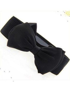 Okdeals Designer Brands Fashion Women Off White Elastic Belt Bow Wide Stretch Leather Belt Harajuku Style Belt For Dresses Women by Okdeals