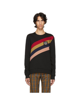 Black Asymmetric 'forever Fendi' Stripe Sweatshirt by Fendi