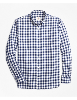 Gingham Brushed Cotton Flannel Sport Shirt by Brooks Brothers