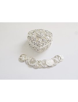 Joice Silver Metal Heart Rhinestone Wedding Arras Box Set With Unity Coins by Joice