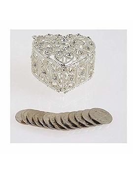 "Joice Decorative Rhinestone Wedding Arras Heart Shape Box Set 2¼"" X 1½"" X 2"" (Silver) by Joice"