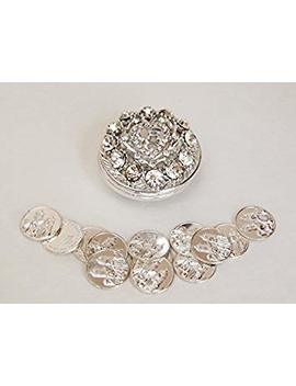 Round Rhinestone Wedding Arras With Coins Set, Silver by Joice Gift