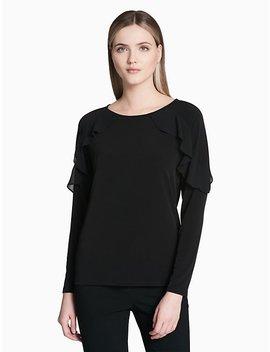 Knit Chiffon Ruffle Short Sleeve Top by Calvin Klein