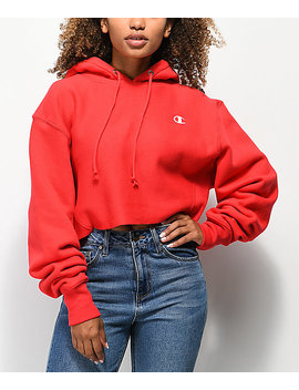 Champion Reverse Weave Red Crop Hoodie by Champion