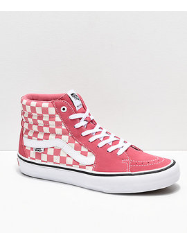 Vans Sk8 Hi Pro Desert Rose Checkerboard Skate Shoes by Vans
