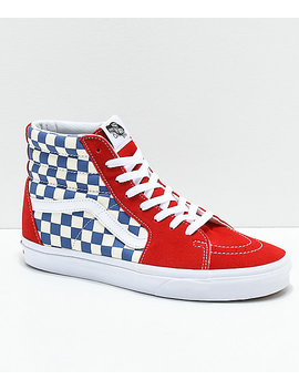 Vans Sk8 Hi Bmx Checkerboard Blue, Red &Amp; White Skate Shoe by Vans