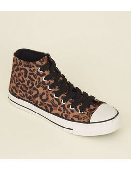 Tan Leopard Print Stripe Sole High Top Trainers by New Look