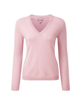 Pure Collection Cashmere Double V Neck Jumper, Chalk Pink by Pure Collection