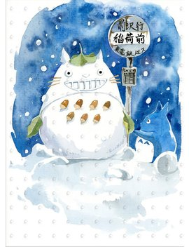 "Studio Ghibli Snowman Totoro 5""X7"" Watercolor Art Print, Anime Print, My Neighbor Totoro by Penelope Love Prints"