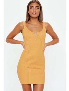 Mustard Popper Front Knitted Mini Dress by Missguided