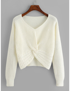 Ribbed Twist Hem Jumper by Sheinside