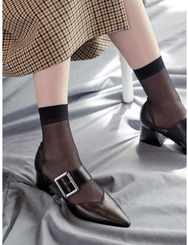 M17002 Square Buckle Pumps Black by Marcie