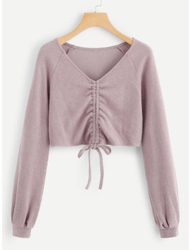 Drawstring Front V Neckline Solid Sweater by Sheinside