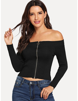 Off Shoulder Zip Up Sweater by Sheinside