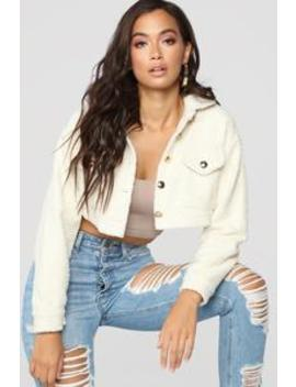 Fuzzy Love Button Crop Jacket   Ivory by Fashion Nova