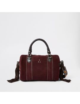 Dark Red Leather Cross Body Bowler Bag by River Island