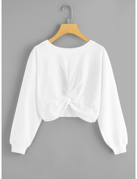Twist Solid Crop Sweatshirt by Sheinside