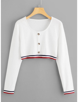 Contrast Trim Button Detail Crop Sweatshirt by Sheinside