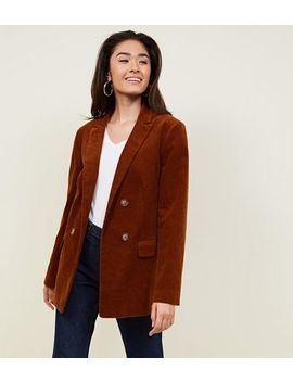Rust Double Breasted Corduroy Blazer by New Look