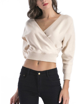 Solid Wrap Crop Sweater by Sheinside