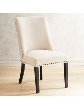 Linen Dining Chair With Black Espresso Wood by Corinne Collection