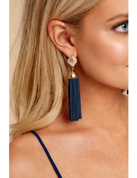 Request More Time Navy Tassel Earrings by Joia