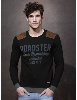 Roadster Black Flock Print T Shirt With Suede Shoulder Patches by Roadster