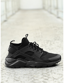 Nike Men Black Air Huarache Run Ultra Mid Top Sneakers by Nike