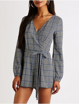 Houndstooth Belted Romper by Charlotte Russe