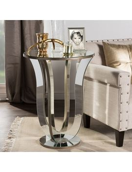 Baxton Studio Kylie Modern Hollywood Regency Glamour Style Mirrored Accent Side Table by Baxton Studio