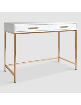 White And Gold Reid Desk With Drawers by World Market