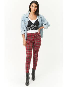 High Rise Plaid Leggings by Forever 21