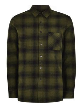 Khaki Checked Long Sleeve Shirt by Topman