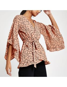 Brown Print Wrap Tie Waist Frill Blouse by River Island