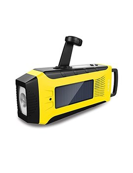 Portable Solar Powered Radio,Esky Hand Crank Am/Fm/Noaa Weather Radio With Emergency Led Flashlight,Phone Charger Power Bank (Yellow 02) by Esky