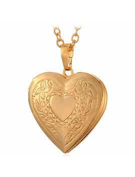 U7 Charm Necklace Platinum/Rose Gold/18 K Gold Plated Locket Pendant   With 22 Inches Chain (Flower Or Cross Locket by U7