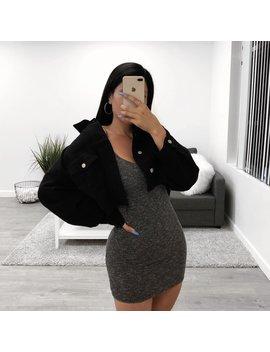 Isabella Denim Crop Jacket (Black) by Laura's Boutique