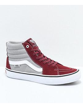 Vans Sk8 Hi Pro Cabernet, Grey & White Skate Shoes by Vans