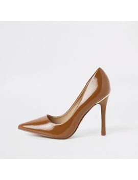 Brown Chestnut Patent Pumps by River Island