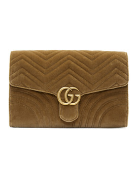 Brown Velvet Gg Marmont 2.0 Clutch by Gucci