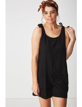 Lexi Tie Shoulder Linen Blend Playsuit by Cotton On