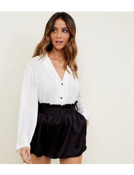 Cameo Rose Black Satin Belted Shorts by New Look