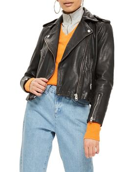 Strike Leather Biker Jacket by Topshop