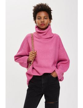 Oversized Roll Neck Jumper by Topshop