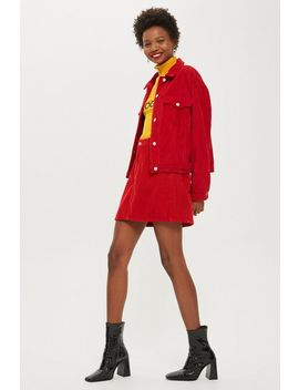Red Corduroy Skirt by Topshop