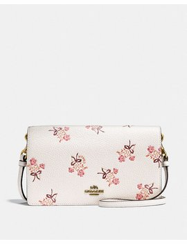 Foldover Crossbody Clutch With Floral Bow Print by Coach
