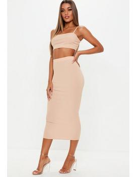 Pink Ribbed Midi Skirt And Strappy Top Co Ord by Missguided